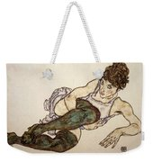 Reclining Woman With Green Stockings Weekender Tote Bag