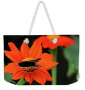 Red Admiral Nectaring On Tithonia Weekender Tote Bag