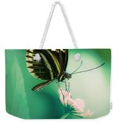Red And Black Butterfly On White Flower Weekender Tote Bag