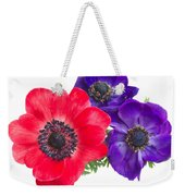 Red And Blue Anemone Flowers  Weekender Tote Bag