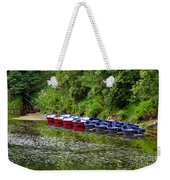 Red And Blue Boats On The River Coquet Weekender Tote Bag