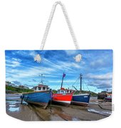 Red And Blue Fishing Boats Tenby Port Weekender Tote Bag
