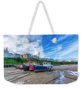 Red And Blue Fishing Trawler In Low Tide Weekender Tote Bag