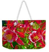 Red And White Columbine At Pilgrim Place In Claremont-california Weekender Tote Bag