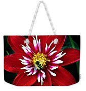 Red And White Flower With Bee Weekender Tote Bag