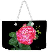 Red And White Rose In Rain Weekender Tote Bag