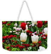 Red And White Tulips With Red And Pink English Daisies In Spring Weekender Tote Bag