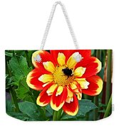 Red And Yellow Flower With Bee Weekender Tote Bag