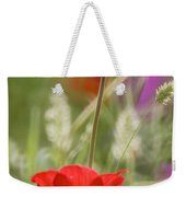 Red Anemone Coronaria In Nature Weekender Tote Bag