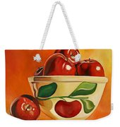 Red Apples In Vintage Watt Yellowware Bowl Weekender Tote Bag
