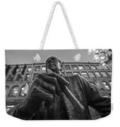 Red Auerbach Chilling At Fanueil Hall Black And White Weekender Tote Bag