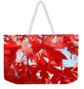 Red Autumn Leaves Art Prints Canvas Fall Leaves Baslee Troutman Weekender Tote Bag
