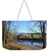 Red Barn And Pond Weekender Tote Bag