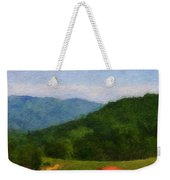 Red Barn On The Mountain Weekender Tote Bag by Teresa Mucha