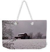 Red Barn Under Snow Weekender Tote Bag