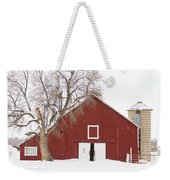 Red Barn Winter Country Landscape Weekender Tote Bag by James BO  Insogna