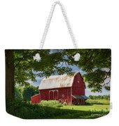 Red Barn With White Arched Door Trim Weekender Tote Bag