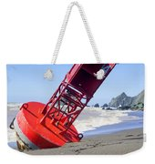 Red Bell Buoy On Beach With Bottle Weekender Tote Bag