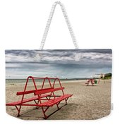 Red Bench On A Beach Weekender Tote Bag