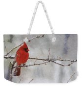 Red Bird Of Winter Weekender Tote Bag by Jeff Kolker