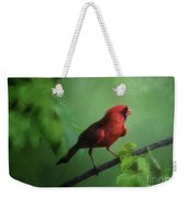 Red Bird On A Hot Day Weekender Tote Bag