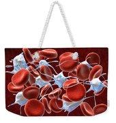 Red Blood Cells With Leukocytes Weekender Tote Bag by Stocktrek Images