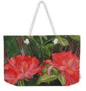 Red Blooms On The Parkway Weekender Tote Bag