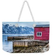 Red Boathouse In Norris Point, Newfoundland Weekender Tote Bag