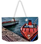 Red Boats At Blue Pier Weekender Tote Bag