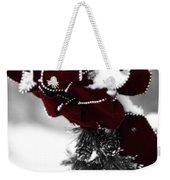 Red Bow In Snow Weekender Tote Bag