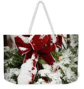 Red Bow On Pine Bough Weekender Tote Bag
