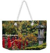 Red Bridge & Japanese Lantern, Autumn Weekender Tote Bag