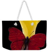 Red Butterfly And Calla Lily Weekender Tote Bag