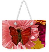 Red Butterfly On Bunch Of Flowers Weekender Tote Bag