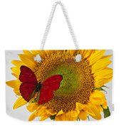 Red Butterfly On Sunflower On Red Pitcher Weekender Tote Bag by Garry Gay