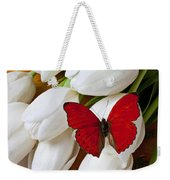 Red Butterfly On White Tulips Weekender Tote Bag by Garry Gay