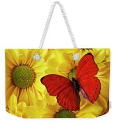Red Butterfly On Yellow Mums Weekender Tote Bag