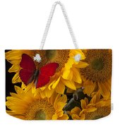 Red Butterfly With Four Sunflowers Weekender Tote Bag