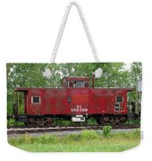 Red Caboose In The Rain Weekender Tote Bag