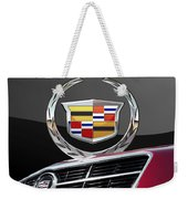 Red Cadillac C T S - Front Grill Ornament And 3d Badge On Black Weekender Tote Bag by Serge Averbukh