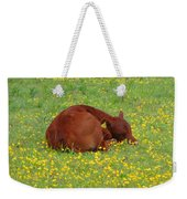 Red Calf In The Buttercup Meadow Weekender Tote Bag