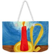 Red Candle Lighting Up The Dark Blue Night. Weekender Tote Bag