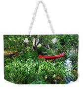 Red Canoe In The Adk Weekender Tote Bag