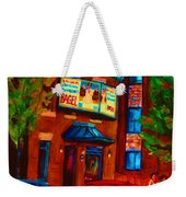 Red Car Blue Sky Weekender Tote Bag