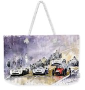 1954 Red Car Maserati 250 France Gp Weekender Tote Bag by Yuriy Shevchuk