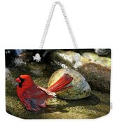 Red Cardinal Bathing Weekender Tote Bag