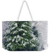 Red Cedar And Snow Weekender Tote Bag