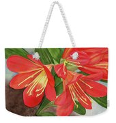 Red Clivias - Watercolor Weekender Tote Bag