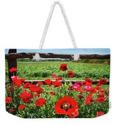 Red Corn Poppies At The Fence Weekender Tote Bag