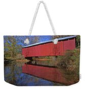 Red Covered Bridge And Reflection Weekender Tote Bag